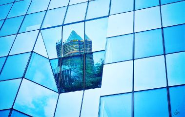 reflection glasswindow tower building architecture