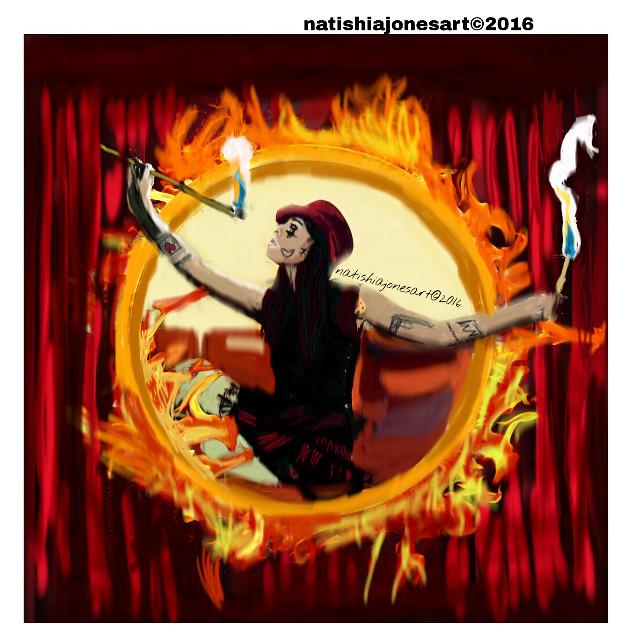 #natishiajonesart #kpop #gd #gdragon #fashion #style #fire #flames #circus