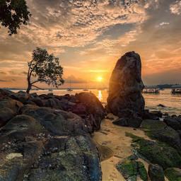 summer sky sea sunset rocks