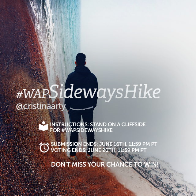 Take a hike for this Weekly Art Project, but before you do so, flip the world on its side! Stand on the side of a cliff and put the sky and earth parallel to your cheeks! Use PicsArt to create your image and share with #wapSidewaysHike to enter. (tutorial here: https://picsart.com/tutorials/seeing-sideways , banner image by @cristinaarty )