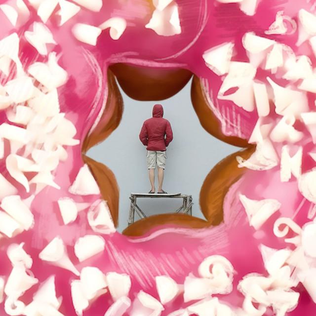 Donut 😋  #donut #man  #wall #minimalis #minimalism #minimalist #red #pink #MadeWithPicsArt