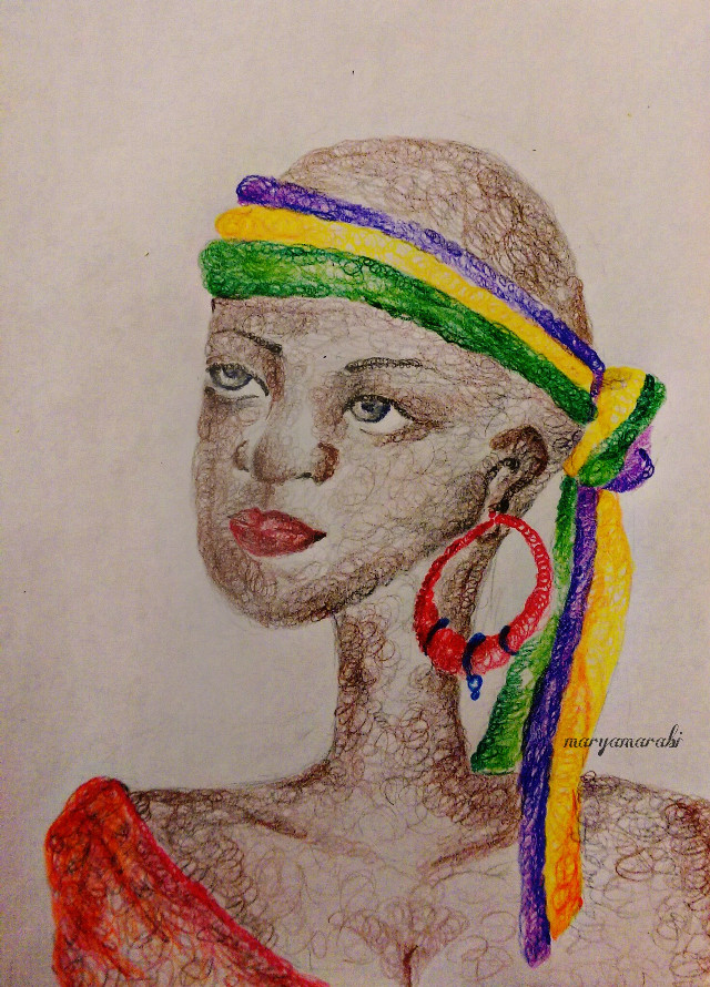 My new artwork 💗 #africa #hatch #pretty #sketch #art #painting #summer #love #colorful #edited #girl #woman