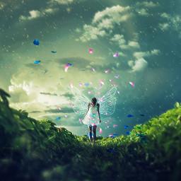 freetoedit flowers fairytale fairy wind