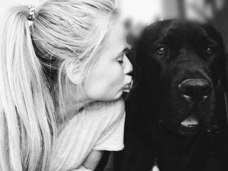 dog looove kiss people photography