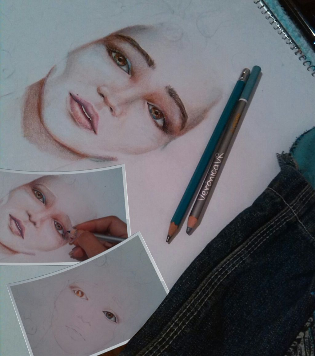 The evolution of the sketch..  I started with this girl drawing this morning... But I was very busy 😞.  So... I could return to work on it until two hours ago.  With an extremely basic editing I leave you some step's samples. 😉 Because I Love that you can experience the creative process ❤❤     #draw #Art #mine #paint #loveart #MyArt #colorful #emotions #love #people #Process #EnProceso #timelapse #eyes #cute #interesting #artist #creative #original #sketchbook #interesting