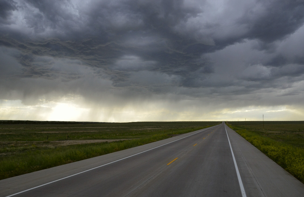 """Mindshift Day 198  """"I would rather be on the road to nowhere, than not on the road at all."""" -Richard Martin  #mindshift #day198 #road #nowhere #storm #landscape #nature #FreeToEdit"""