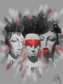 three red blackandwhite
