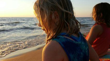 beach sunset people profile goldenhour