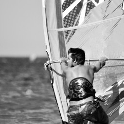 photography blackandwhite sea windsurf surfer